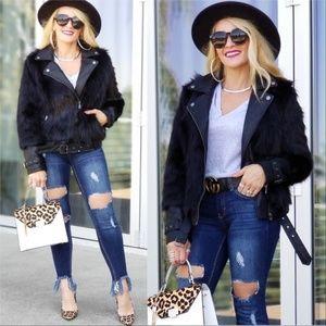 JENNIFER Faux fur & Vegan leather Black Jacket